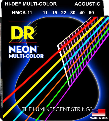 Neon and Colour Coated Acoustic Guitar Strings