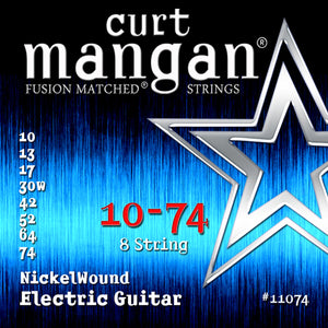 Curt Mangan 10-74 Nickel Wound (8-String) Electric Guitar Strings - Dynamic Music Distribution