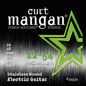 Curt Mangan 12-54 Stainless Steel Medium Light Set Electric Guitar Strings - Guitar Gear Pro