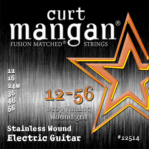 Curt Mangan 12-56 Stainless Steel (Drop tuning, wound 3rd) Electric Guitar Strings - Dynamic Music Distribution