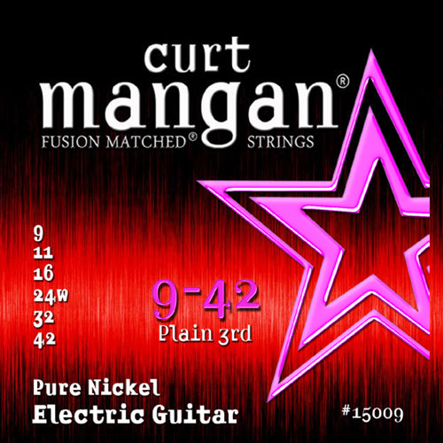 Curt Mangan 9-42 Pure Nickel Wound Set Electric Guitar Strings - Dynamic Music Distribution