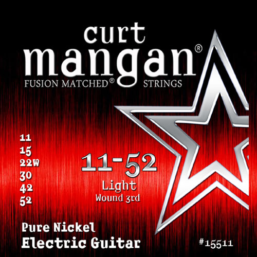 Curt Mangan 11-52 Pure Nickel Wound Light Set Electric Guitar Strings - Dynamic Music Distribution