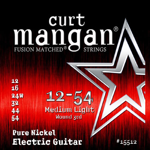 Curt Mangan 12-54 Pure Nickel Wound Medium Light Set Electric Guitar Strings - Dynamic Music Distribution