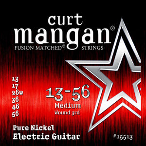 Curt Mangan 13-56 Pure Nickel Wound Medium Set Electric Guitar Strings - Dynamic Music Distribution
