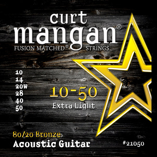 Curt Mangan 10-50 80/20 Bronze Extra Light Set Acoustic Guitar Strings - Dynamic Music Distribution