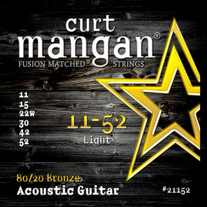 Curt Mangan 11-52 80/20 Bronze Light Acoustic Guitar Strings - Guitar Gear Pro