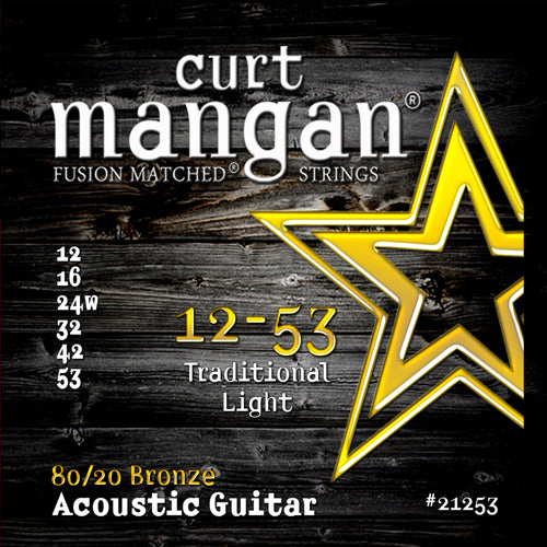 Curt Mangan 12-53 80/20 Traditional Light Set Acoustic Guitar Strings - Guitar Gear Pro