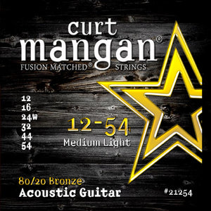 Curt Mangan 12-54 80/20 Bronze Medium Light Set Acoustic Guitar Strings