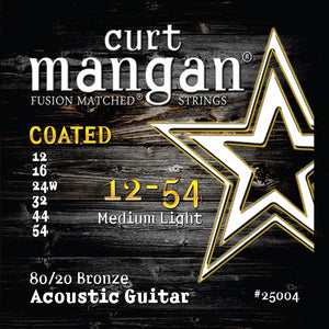Curt Mangan 12-54 80/20 Bronze Medium Light COATED Acoustic Guitar Strings - Dynamic Music Distribution