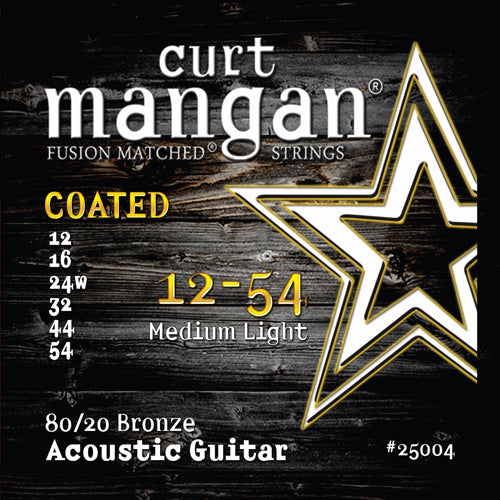 Curt Mangan 12-54 80/20 Bronze Medium Light COATED Acoustic Guitar Strings - Guitar Gear Pro