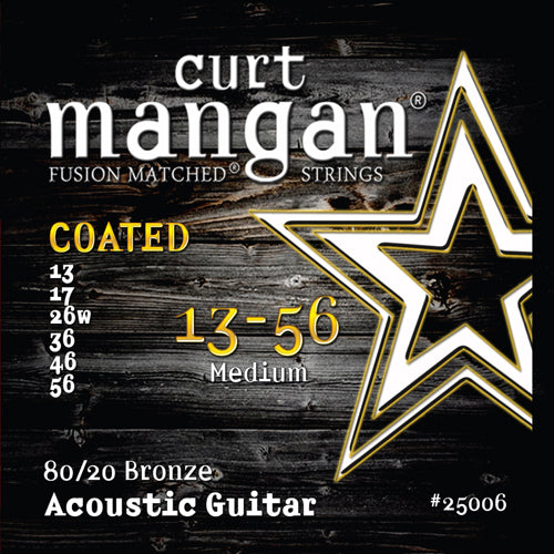 Curt Mangan 13-56 80/20 Bronze Medium Set COATED Acoustic Guitar Strings - Dynamic Music Distribution