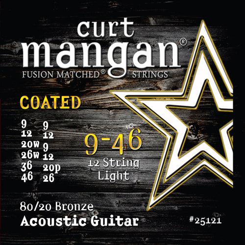 Curt Mangan 9-46 80/20 Bronze 12-String Light Set COATED Acoustic Guitar Strings - Guitar Gear Pro