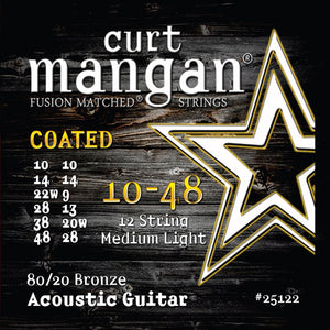 Curt Mangan 10-48 12-String 80/20 Bronze COATED Acoustic Guitar Strings - Dynamic Music Distribution