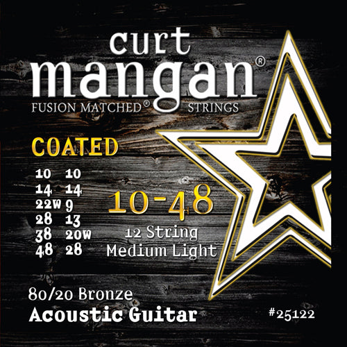 Curt Mangan 10-48 12-String 80/20 Bronze COATED Acoustic Guitar Strings