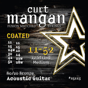 Curt Mangan 11-52 80-20 Bronze 12-String Medium Set COATED Acoustic Guitar Strings - Dynamic Music Distribution
