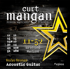 Curt Mangan 11-52 80-20 Bronze 12-String Medium Set Acoustic Guitar Strings - Dynamic Music Distribution