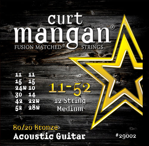 Curt Mangan 11-52 80-20 Bronze 12-String Medium Set Acoustic Guitar Strings