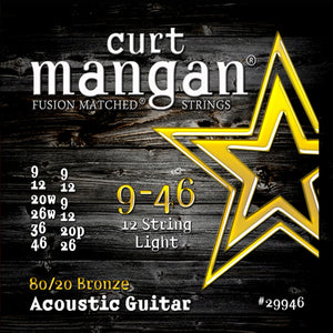 Curt Mangan 9-46 80/20 Bronze 12-String Light Set Acoustic Guitar Strings - Dynamic Music Distribution