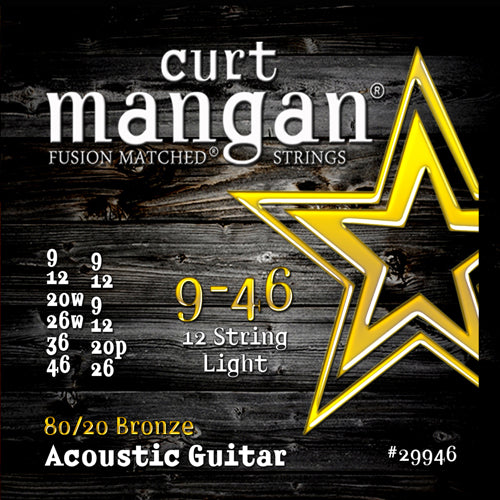 Curt Mangan 9-46 80/20 Bronze 12-String Light Set Acoustic Guitar Strings - Guitar Gear Pro