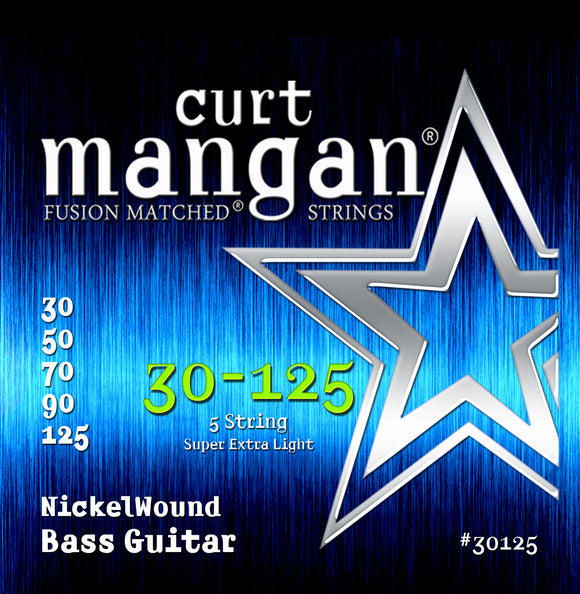 Curt Mangan 30-125 Nickel Bass 5-String Bass Guitar Strings - Guitar Gear Pro