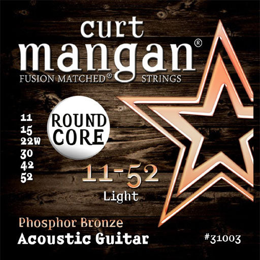 Curt Mangan 11-52 Phosphor Bronze Round Core Acoustic Guitar Strings - Dynamic Music Distribution