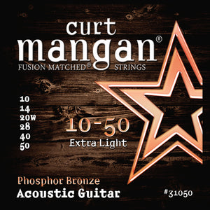 Curt Mangan 10-50 PhosPhor Bronze Extra Light Set Acoustic Guitar Strings - Dynamic Music Distribution
