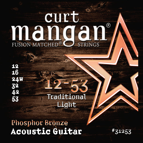 Curt Mangan 12-53 PhosPhor Bronze Traditional Light Acoustic Guitar Strings - Guitar Gear Pro