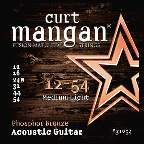 Curt Mangan 12-54 PhosPhor Bronze Medium Light Acoustic Guitar Strings - Dynamic Music Distribution