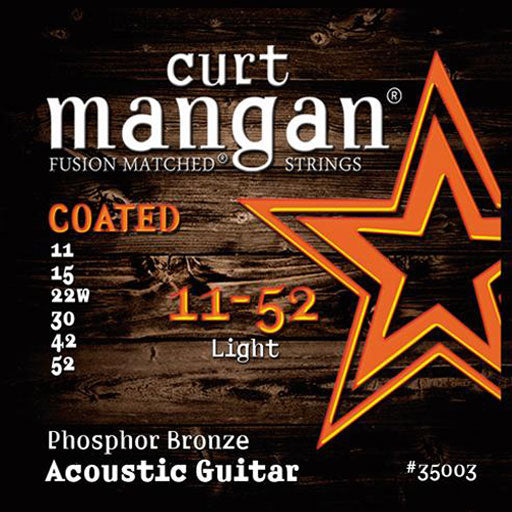 Curt Mangan 11-52 Phosphor Light COATED Acoustic Guitar Strings - Dynamic Music Distribution