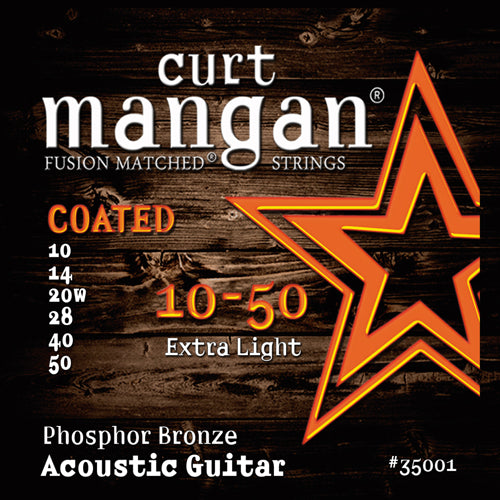 Curt Mangan 10-50 Extra-light Phosphor COATED Acoustic Guitar Strings - Dynamic Music Distribution