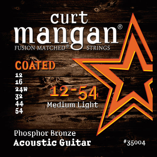 Curt Mangan 12-54 Phosphor Med-Light COATED Acoustic Guitar Strings - Dynamic Music Distribution
