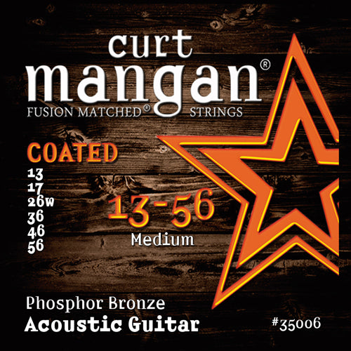 Curt Mangan 13-56 Medium Phosphor COATED Acoustic Guitar Strings - Dynamic Music Distribution