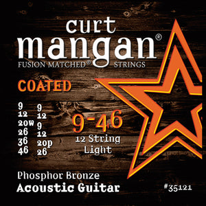 Curt Mangan 9-46 12-String Phos Light COATED Acoustic Guitar Strings - Dynamic Music Distribution