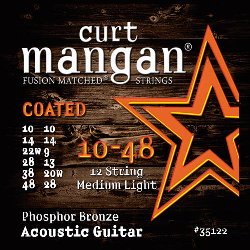 Curt Mangan 10-48 12-String Phos Med-Light COATED Acoustic Guitar Strings - Dynamic Music Distribution