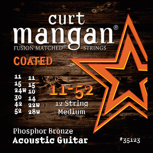 Curt Mangan 11-52 12-String Phos Med COATED Electric Guitar Strings - Dynamic Music Distribution
