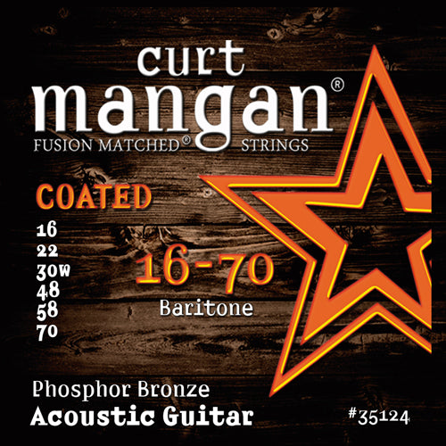 Curt Mangan 16-70 Baritone Phosphor COATED Acoustic Guitar Strings - Dynamic Music Distribution