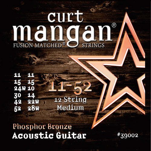 Curt Mangan 11-52 PhosPhor Bronze 12-String Medium Set Acoustic Guitar Strings - Dynamic Music Distribution