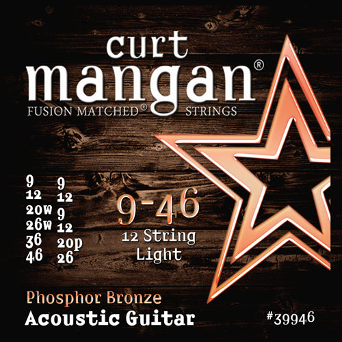 Curt Mangan 9-46 Phosphor Bronze 12-String Light Set Acoustic Guitar Strings - Guitar Gear Pro