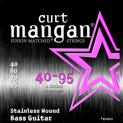 Curt Mangan 40-95 Stainless Steel Wound Extra Light Set Guitar Strings - Dynamic Music Distribution