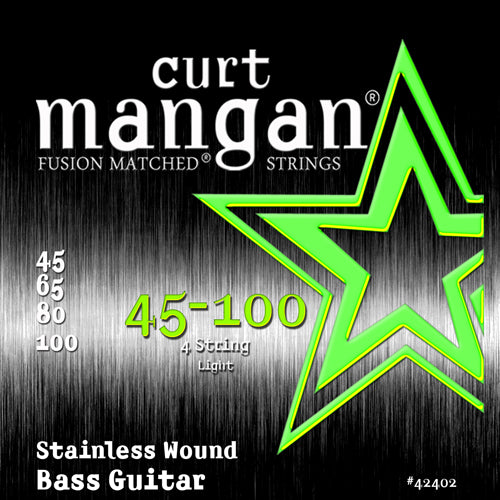 Curt Mangan 45-100 Stainless Steel Wound Light 100 Set Bass Guitar Strings - Dynamic Music Distribution