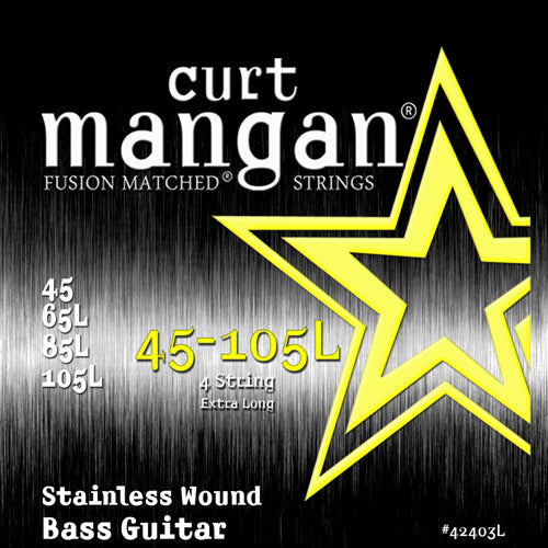 Curt Mangan 45-105 Extra Long Stainless Steel Bass Guitar Strings - Dynamic Music Distribution