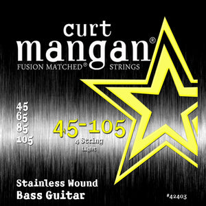 Curt Mangan 45-105 Stainless Steel Wound Light Set Bass Guitar Strings - Dynamic Music Distribution