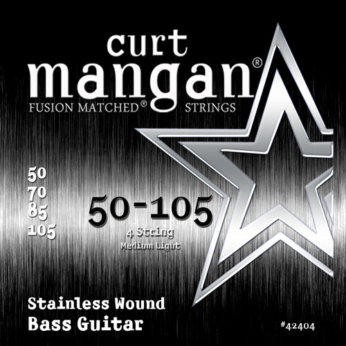 Curt Mangan 50-105 Stainless Steel Wound Medium Light Set Bass Guitar Strings