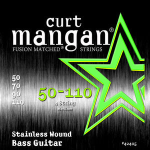 Curt Mangan 50-110 Stainless Steel Wound Medium Set Bass Guitar Strings - Dynamic Music Distribution