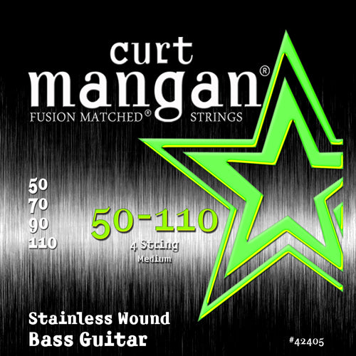 Curt Mangan 50-110 Stainless Steel Wound Medium Set Bass Guitar Strings