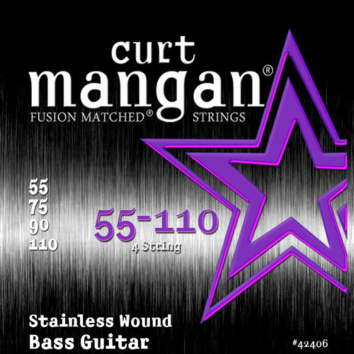 Curt Mangan 55-110 Stainless Steel Wound Bass Med Plus Bass Guitar Strings