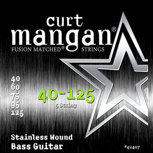 Curt Mangan 40-125 Stainless Steel Wound Light 5-String Bass Guitar Strings - Dynamic Music Distribution
