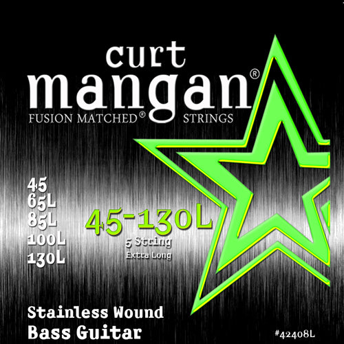 Curt Mangan 45-130 Extra Long Stainless Steel 5-String Bass Guitar Strings - Dynamic Music Distribution