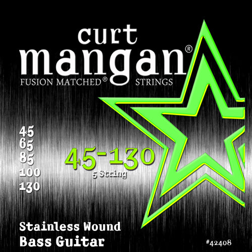 Curt Mangan 45-130 Stainless Wound 5-String Set Bass Guitar Strings - Dynamic Music Distribution