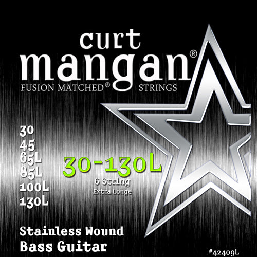 Curt Mangan 30-130 Extra Long Stainless Steel 6-String Bass Guitar Strings - Dynamic Music Distribution